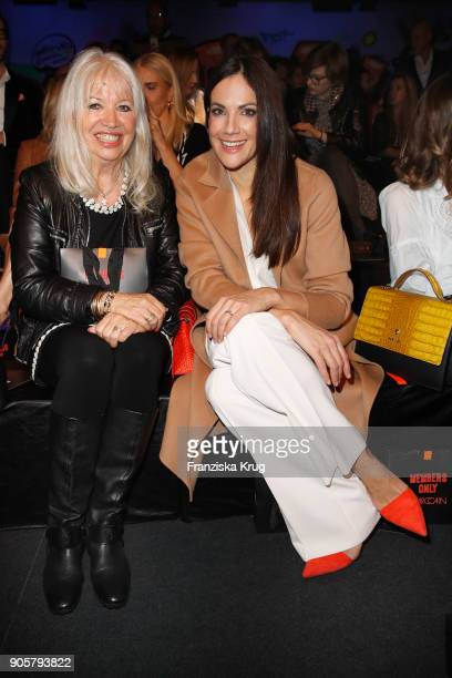 Ute Schlotterer and Bettina Zimmermann during the Marc Cain Fashion Show Berlin Autumn/Winter 2018 at metro station Potsdamer Platz on January 16...