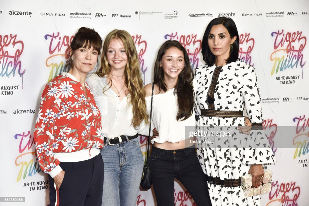 Ute Wieland, Flora Li Thiemann, Emily Kusche and Narges Rashidi attend the 'Tigermilch' Premiere at Kino in der Kulturbrauerei on August 15, 2017 in Berlin, Germany.