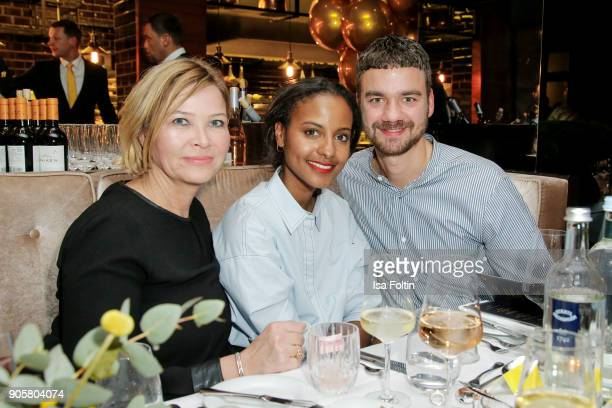 Ute Zahn model Sara Nuru and Timo Korsmeyer during the Grazia Fashion Dinner at Titanic Deluxe Hotel on January 16 2018 in Berlin Germany