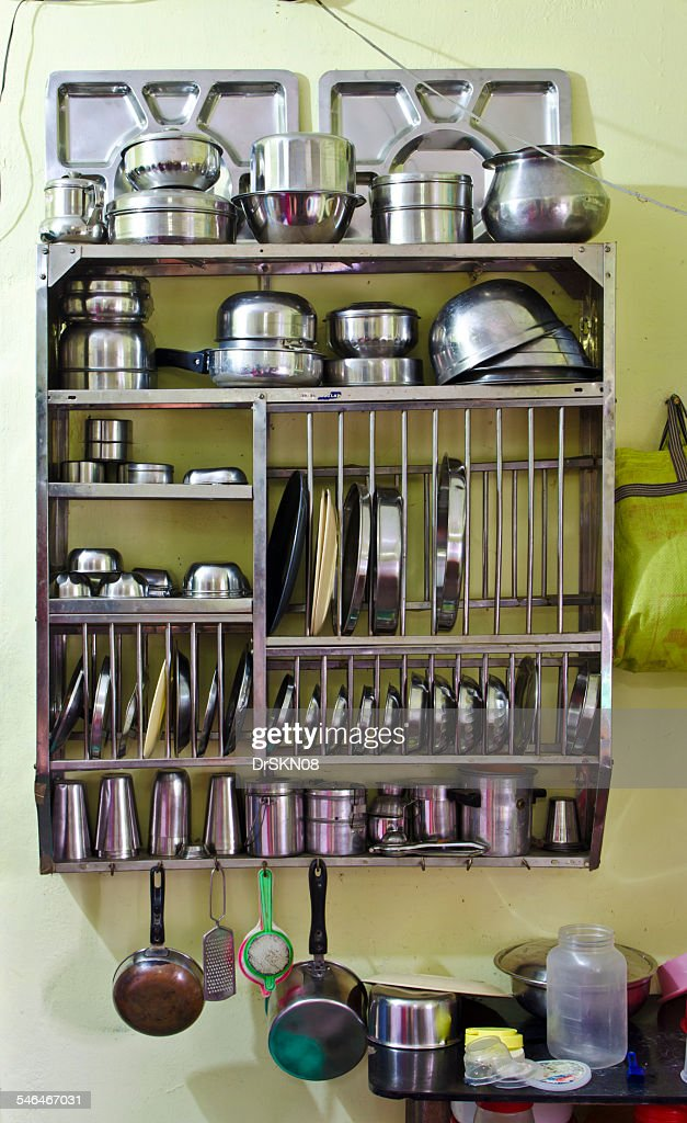 Utensil Stand Hanging On Kitchen Wall Stock Photo