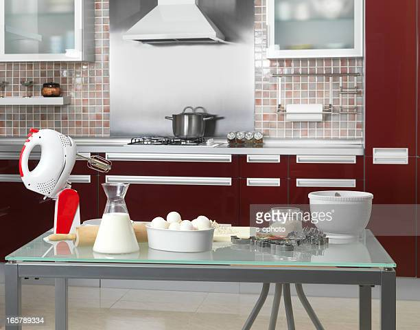 Utensils and cooking ingredients in kitchen