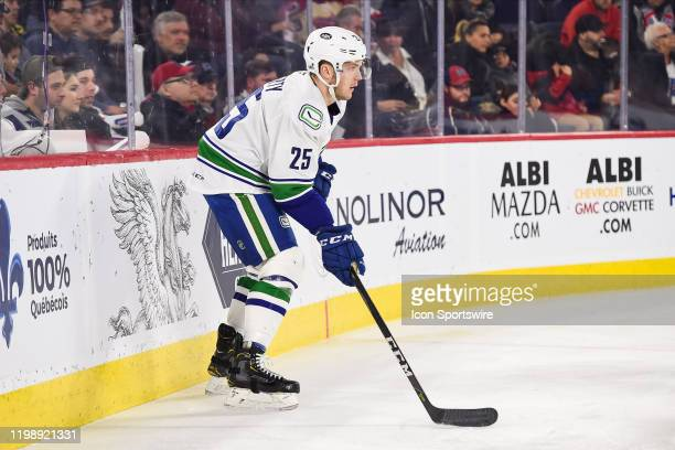 Utica Comets defenceman Brogan Rafferty considers his options during the Utica Comets versus the Laval Rocket game on February 05 at Place Bell in...