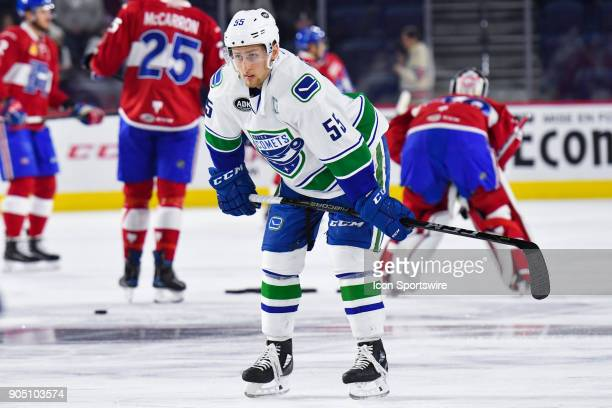 Utica Comets defenceman Guillaume Brisebois stands on the ice at warmup before the Utica Comets versus the Laval Rocket game on January 10 at Place...