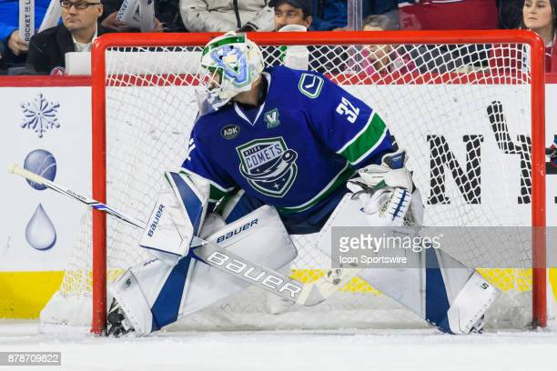Utica Comets goalie Richard Bachman in net during the third period of the AHL game between the Utica Comets and the Laval Rocket on November 24 at...