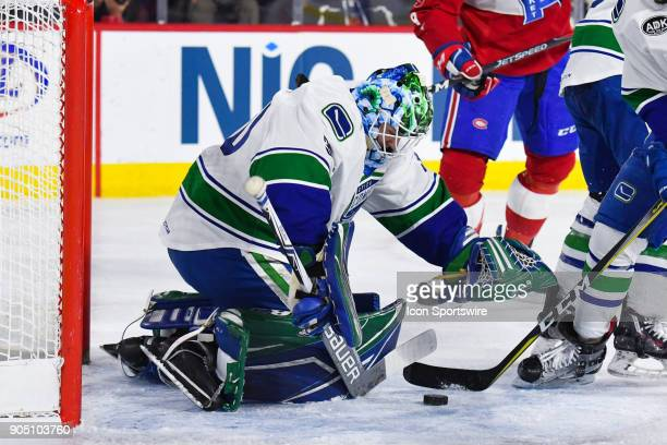 Utica Comets goalie Thatcher Demko stops the puck during the Utica Comets versus the Laval Rocket game on January 10 at Place Bell in Laval QC