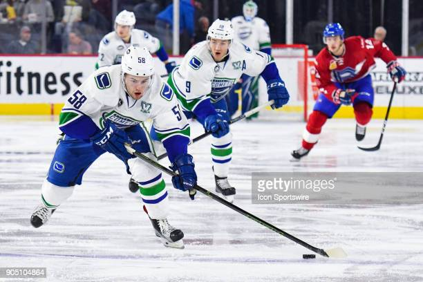 Utica Comets left wing Michael Carcone skates into Laval Rocket zone with the puck during the Utica Comets versus the Laval Rocket game on January 10...