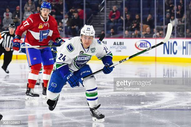 Utica Comets left wing Reid Boucher skates on the ice into Laval Rocket zone during the Utica Comets versus the Laval Rocket game on January 10 at...