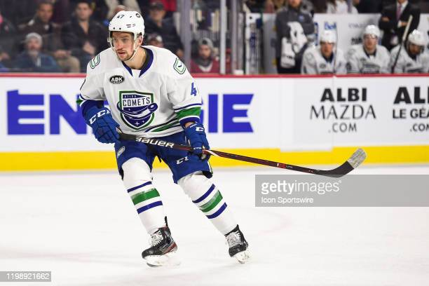 Utica Comets left wing Sven Baertschi tracks the play during the Utica Comets versus the Laval Rocket game on February 05 at Place Bell in Laval, QC