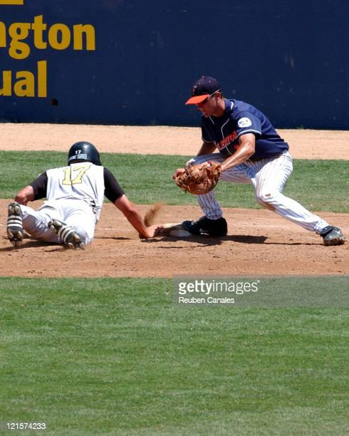 Utility player Scott Bradley of the Long Beach State 49ers 'Dirtbags' dives back to first in a 10 to 0 loss to the National Champion Cal State...