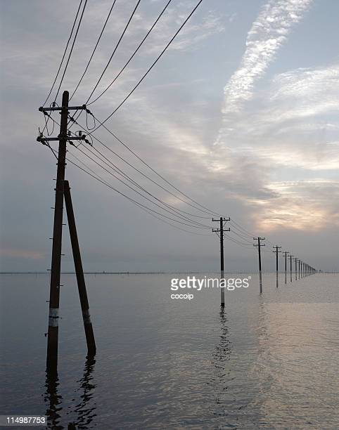 Utility poles on sea