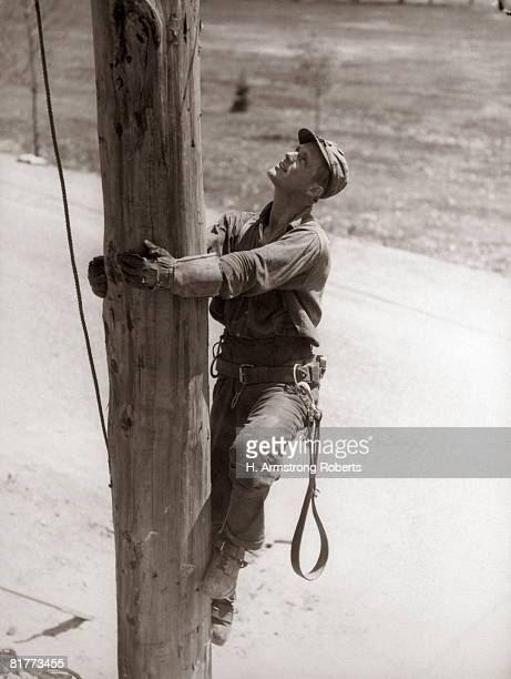 Utility Worker Man Is Climbing Electric Power Utilities Pole.