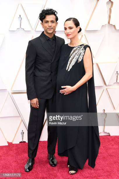 Utkarsh Ambudkar and his wife attend the 92nd Annual Academy Awards at Hollywood and Highland on February 09 2020 in Hollywood California