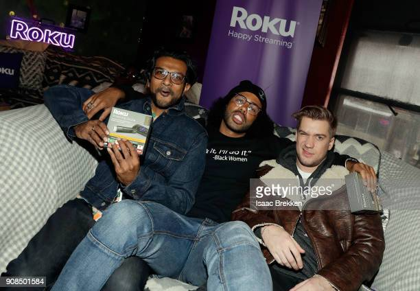 Utkarsh Ambudkar Daveed Diggs and Rafael Casal attend Rock Reilly's daytime lounge presented by JCrew NYLON and Roku during Sundance Film Festival...