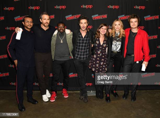 Utkarsh Ambudkar, Ryan Reynolds, Lil Rel Howery, Shawn Levy, guest, Jodie Comer and Joe Keery attend the 20th Century Fox Panel: an Insider's Look at...