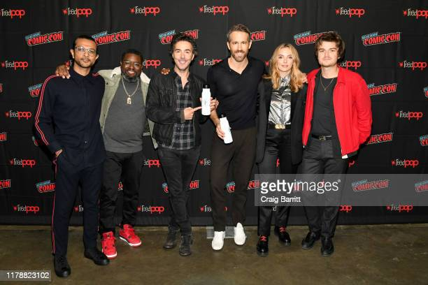 """Utkarsh Ambudkar, Ryan Reynolds, Lil Rel Howery, Shawn Levy, Jodie Comer and Joe Keery attend the 20th Century Fox Panel: an Insider's Look at """"Free..."""