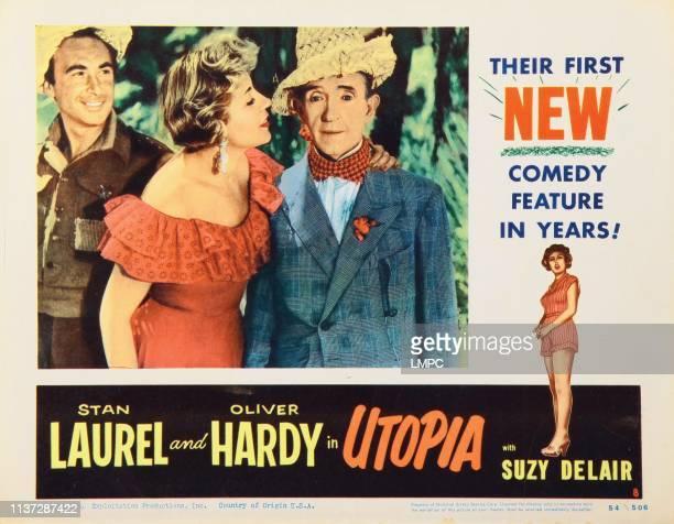 Utopia, lobbycard, , from left: Adriano Rimoldi, Suzy DeLair, Stan Laurel, 1951.