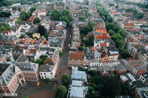utrecht city netherlands aerial view cityscape - utrecht stock pictures, royalty-free photos & images