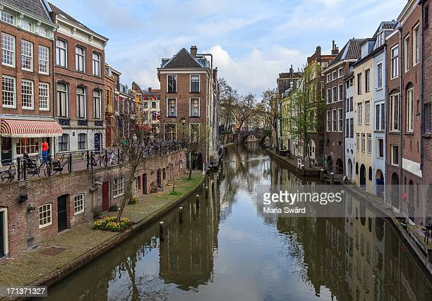 Utrecht in the spring with canal.