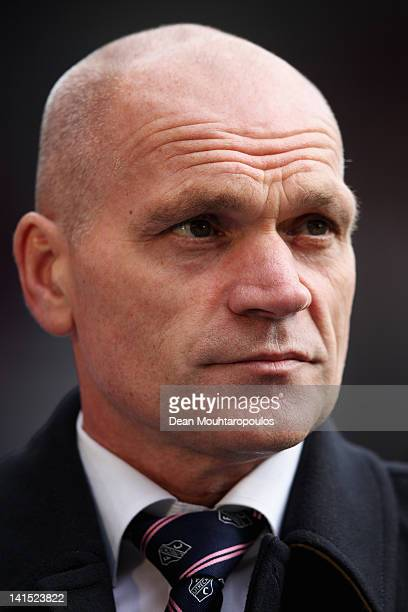 Utrecht Manager/ Coach Jan Wouters looks on prior to the Eredivisie match between FC Utrecht and FC Groningen on March 18 2012 in Utrecht Netherlands