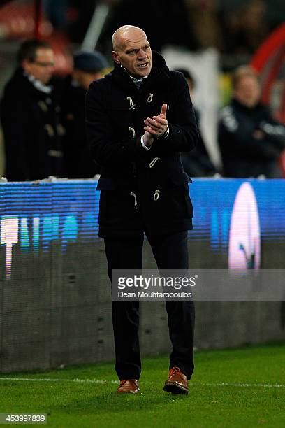Utrecht Manager / Head coach Jan Wouters gives his team instructions during the Dutch Eredivisie match between FC Utrecht and NEC Nijmegen held at...