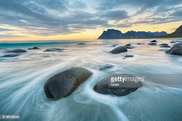 uttakleiv beach, lofoten, norway - landscape scenery stock photos and pictures