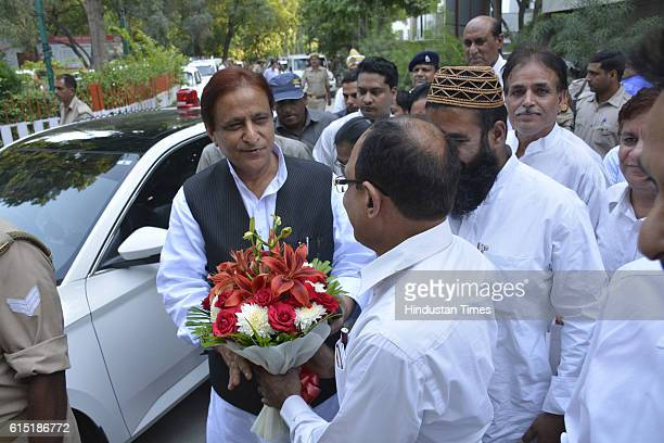 Uttar Pradesh Cabinet Minister Mohammad Azam Khan arrives for meeting at DM office on October 16 2016 in Ghaziabad India