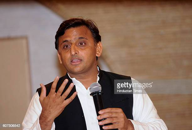 Uttar Pradesh Chief Minister Akhilesh Yadav addressing a press conference at his office residence at 5Kalidas Marg on September 17 2016 in Lucknow...