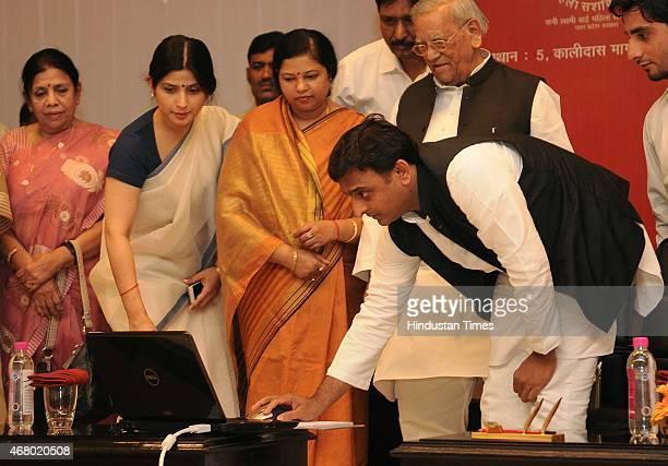 Uttar Pradesh chief minister Akhilesh Yadav along with wife Dimple Yadav during the launch of Rani Laxmi Bai Mahila Fund Samaan Website at 5 kalidas...