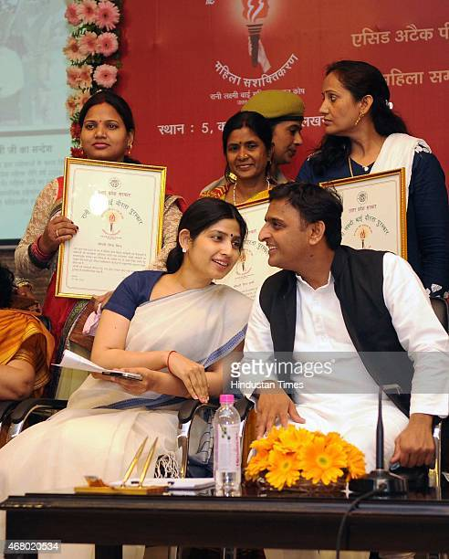 Uttar Pradesh chief minister Akhilesh Yadav along with wife Dimple Yadav during the launch of Rani Laxmi Bai Mahila Fund Samaan Website at 5 kalidas...