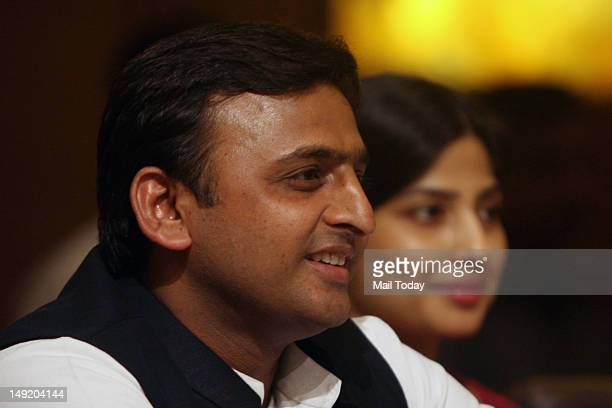 Uttar Pradesh Chief Minister Akhilesh Yadav and his wife MP Dimple Yadav at an interactive session organised by FICCIYFLO in New Delhi on Tuesday