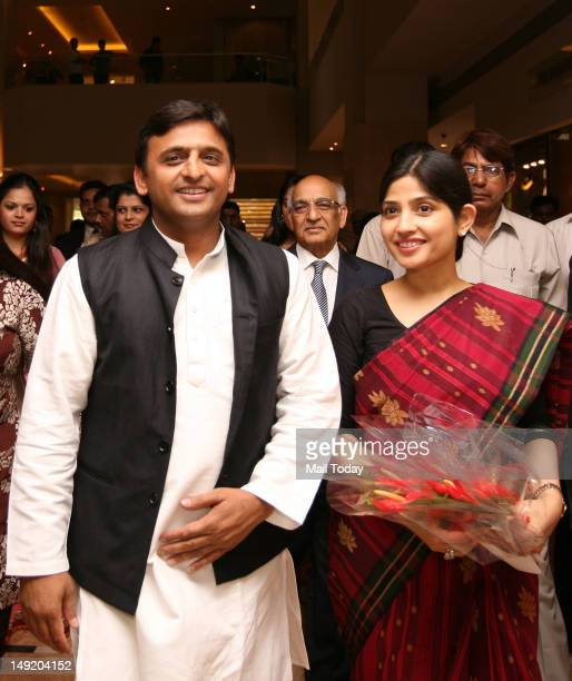 Uttar Pradesh Chief Minister Akhilesh Yadav and his wife MP Dimple Yadav welcomed at an interactive session organised by FICCIYFLO in New Delhi on...