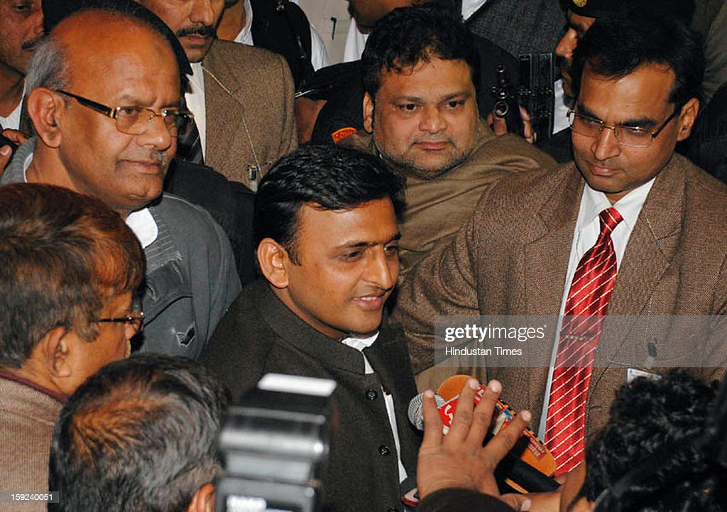 Uttar Pradesh Chief Minister Akhilesh Yadav arrived at Ghaziabad for attending a function at Modi Nagar, on January 10, 2013 in Ghaziabad, India. This was his first visit to Ghaziabad since the Samajwadi Party (SP) came to power in Uttar Pradesh.