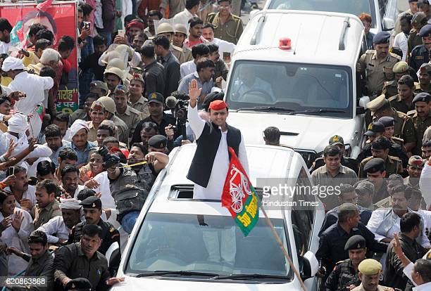 Uttar Pradesh Chief Minister Akhilesh Yadav boarded on SUV after his rath developed a snag during a 'Vikas Rath Yatra' flagged off by Samajwadi Party...