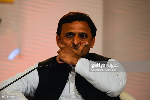 Uttar Pradesh Chief Minister Akhilesh Yadav gestures during the annual Hindustan Times 'Leadership Summit' conference in New Delhi on December 2 2016...