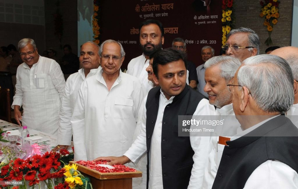 Uttar Pradesh Chief Minister Akhilesh Yadav laying the foundation stone of 13 projects worth over Rs.3,337 crore expanding across Noida, Greater Noida and the Yamuna express highway, from his official residence on April 2, 2013 in Lucknow, India. Yadav also laid the foundation of two power sub-stations in sector 123 and 148. A medical college will also be constructed at a cost of Rs.500 crores in Greater Noida. (Photo by Ashok Dutta/Hindustan Times via Getty Images).