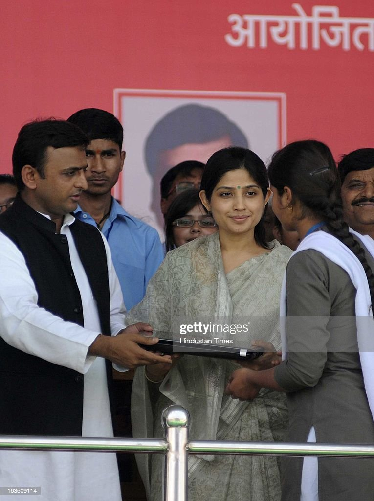 Uttar Pradesh Chief Minister Akhilesh Yadav & Member of Parliament from Kannauj Dimple Yadav launching the free Laptop Distribution Scheme on March 11, 2013 in Lucknow, India. Free laptop scheme for intermediate pass students as promised in the manifesto during Assembly elections last year.