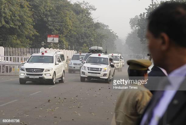 Uttar Pradesh Chief Minister Akhilesh Yadav returns back to his official residence after meeting with Mulayam Singh Yadav and Shivpal Yadav amid...