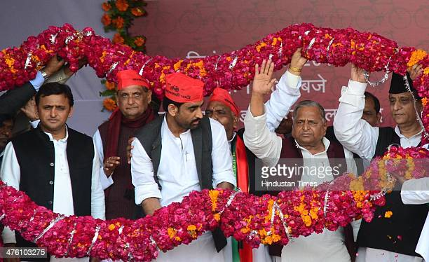 Uttar Pradesh chief minister Akhilesh Yadav Samajwadi Party chief Mulayam Singh Yadav and Samajwadi Party leader Mohammad Azam Khan during the 'Desh...