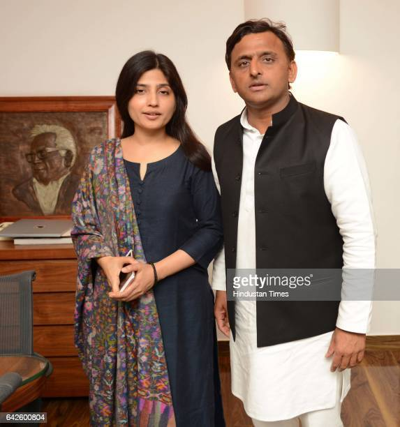 Uttar Pradesh Chief Minister Akhilesh Yadav with his wife and Samajwadi Party MP from Kannauj Dimple Yadav during an exclusive interview with...