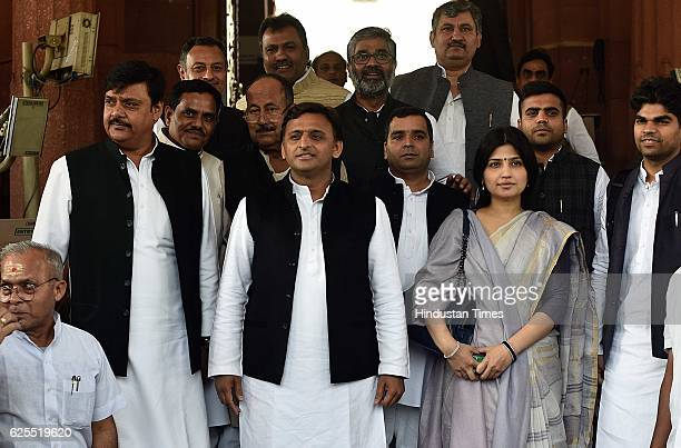 Uttar Pradesh Chief Minister Akhilesh Yadav with his wife Dimple Yadav and other state MPs during the Winter Session at Parliament on November 24...