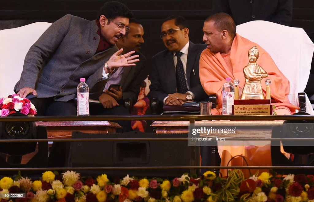 Uttar Pradesh Chief Minister Yogi Adityanath along with Cabinet Minister of Youth Affairs and Sports Rajyavardhan Singh Rathore during the 22nd National Youth Festival at Gautam Buddha University, on January 12, 2018 in Greater Noida, India.