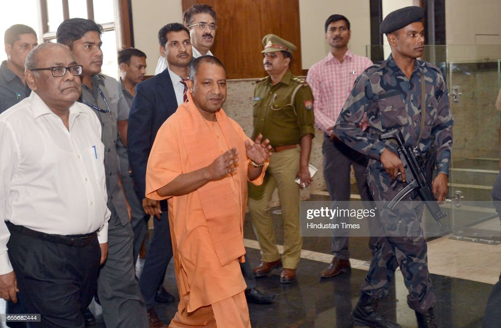 Uttar Pradesh Chief Minister Yogi Adityanath arriving at the Lok Bhavan for his first meeting after assuming office at Lok Bhavan on March 20, 2017 in Lucknow, India.