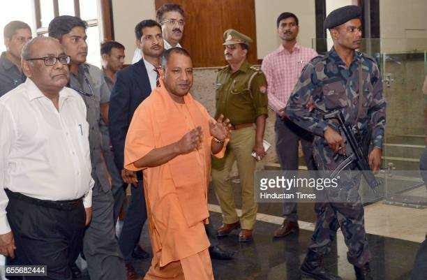 Uttar Pradesh Chief Minister Yogi Adityanath arriving at the Lok Bhavan for his first meeting after assuming office at Lok Bhavan on March 20 2017 in...