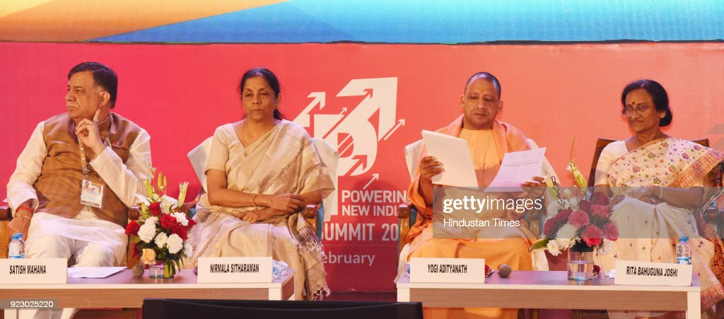 Uttar Pradesh chief minister Yogi Adityanath, defence minister Nirmala Sitharaman, UP industry minister Satish Mahana and tourism minister Rita Bahuguna Joshi during the last day session of the Uttar Pradesh Investors Summit-2018 at the Indira Gandhi Pratishthan on February 22, 2018 in Lucknow, India. During UP Investors Summit, the state has attracted memorandum of understanding (MoUs) worth a whopping Rs 4.28 lakh crore.