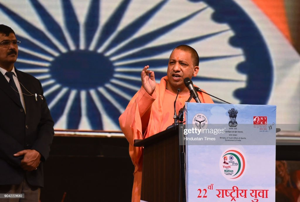 Uttar Pradesh Chief Minister Yogi Adityanath during the 22nd National Youth Festival at Gautam Buddha University, on January 12, 2018 in Greater Noida, India.