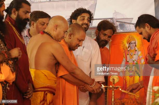 Uttar Pradesh Chief Minister Yogi Adityanath during the 79th birthday function of Mahant Nritya Gopal Das on May 31 2017 in Ayodhya India On his...