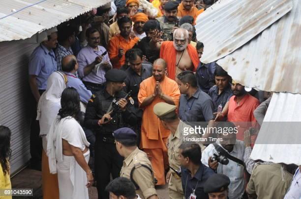 Uttar Pradesh Chief Minister Yogi Adityanath on May 31 2017 in Ayodhya India On his first visit to Ayodhya UP Chief Minister visited the makeshift...