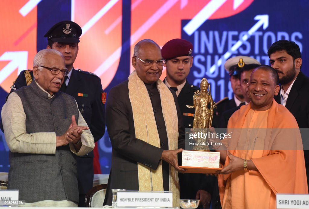 Uttar Pradesh chief minister Yogi Adityanath presenting a memento to President Ram Nath Kovind along with Governor Ram Naik on the final Day of the Uttar Pradesh Investors Summit-2018 at the Indira Gandhi Pratishthan on February 21, 2018 in Lucknow, India.