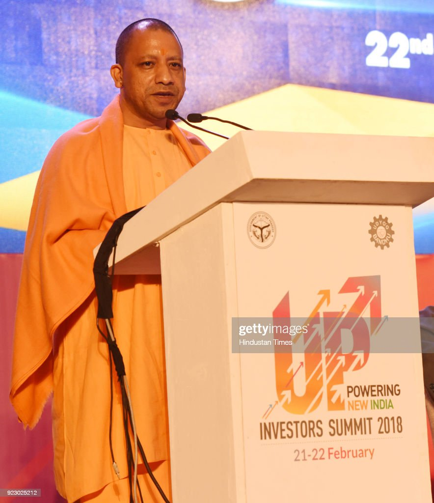 Uttar Pradesh chief minister Yogi Adityanath speaking during the last day session of the Uttar Pradesh Investors Summit-2018 at the Indira Gandhi Pratishthan on February 22, 2018 in Lucknow, India. During UP Investors Summit, the state has attracted memorandum of understanding (MoUs) worth a whopping Rs 4.28 lakh crore.