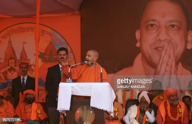 Uttar Pradesh Chief Minister Yogi Adityanath speaks during Sant Sammelan held by the Vishva Hindu Parishad organisation at Sangam the confluence of...